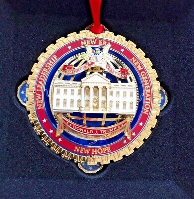 2018 White House Holiday Ornament - Donald Trump - 24k Gold Finish LARGE METAL