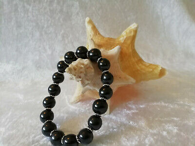 Shungite Bracelet (d-10mm) on elastic with Silver Twisted Rondelle