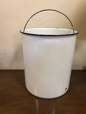 Vintage White Enamel Metal Milk Churn Bucket Pail With Handle