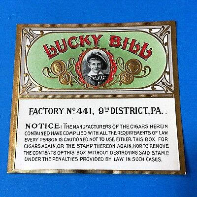 """Lucky Bill"" Embossed Cigar Box Label (for inside of lid)"