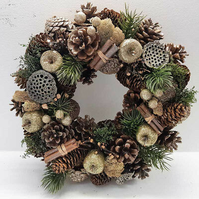 Christmas Door Wreath Ring Natural Cones Berries Xmas home Memorial XMA 0397