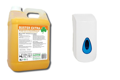 Clover Buster Extra 5Ltr & 900ml Wall Mounted Dispenser Engineers Hand Cleaner