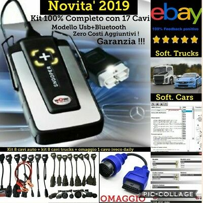 Autodiagnosi Prof.con 17 Cavi,Auto-Truck-Bus Versione Full 2019 Con 6 Software !