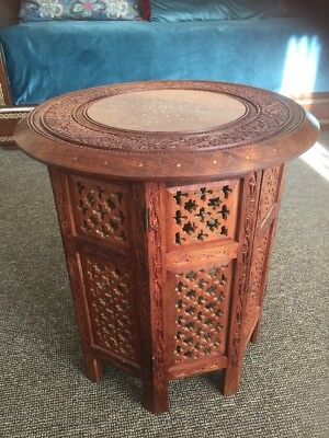 Antique Lovely  Anglo Indian Carved Folding Side Table -17 top 19 Inch tall