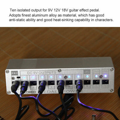 10 Isolated Output DC 9V 12V 18V Guitar Pedal Effect Power Supply AU Adapter MG