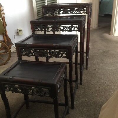 Antique Chinese Hand Carved Stacking Tables, Made From A Type Of Rosewood