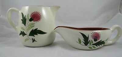 Stangl Pottery Pink Thistle Gravy Sauce Boat Pitcher 32 Oz Set of 2
