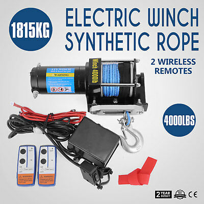 New 12V Wireless 4000LBS/1815KGS Electric Rope Winch ATV 4WD 4x4 Boat Truck Pop