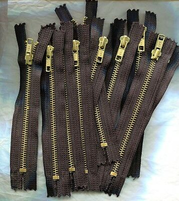 Lot of 10 - 6 inch Black & Brass #5 YKK One Closed End Zippers New!