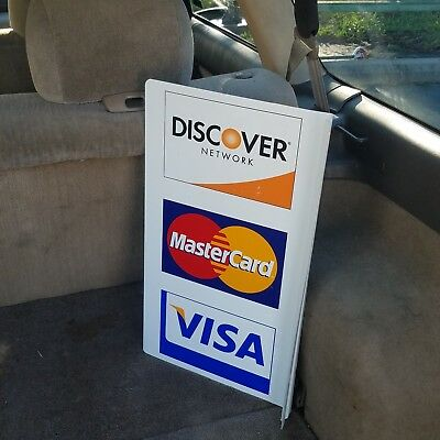 Master Card, Visa & Discover Credit Card Double Sided Flange Sign Nice!!!!