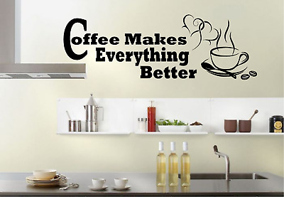 Love Coffee Cups Kitchen Wall Stickers Vinyl Art Decals Cafe Diner Hearts DIY