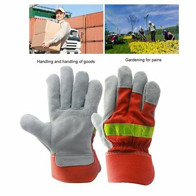 Leather Work Glove Safety Protective Gloves Fire Proof With Reflective Strap OO