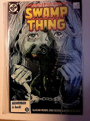 SWAMP THING #51 Alan Moore 1986 HAWKMAN IS BACK DC-IN PLASTIC COVER