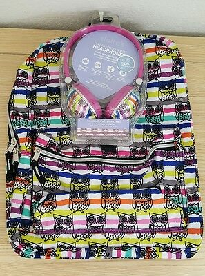 Owl School Backpack Book Bag with matching Headphone NEW