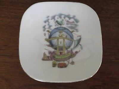 Vintage Alitalia Small Porcelain Dish w Hot Air Balloon Painting -Richard Ginori
