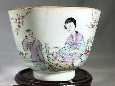 Antique Chinese Export Porcelain Tea Cup 18th Century Figural