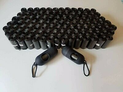 2000 Dog Poop Bag Refill with Core Roll Waste Scoop Bags Black Leash Dispenser