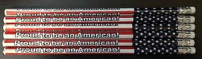 Proud To Be An American No. 2 Pencils (Lot Of 6) New School USA Patriotic