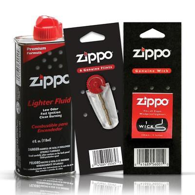 Zippo Fuel Fluid 4oz & 1 Flint and 1 Wick Value Pack Combo Set