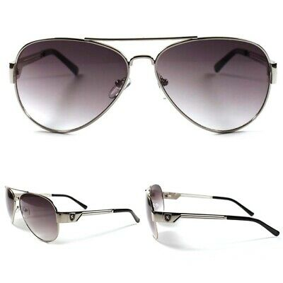 Aviator Style Mens Womens Silver Sporty Casual Trendy Gradient Lens Sunglasses
