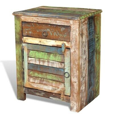 Rustic End Table Bedside Cabinet Bedroom Antique Reclaimed Solid Wood Furniture