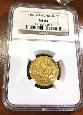 1864 Imperial Russia Gold 5 Roubles NGC Certified Graded MS 64 Russian Rare Coin
