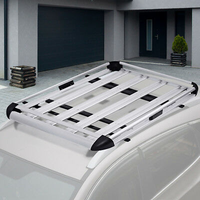 Aluminum Roof Tray Platform Rack Luggage Box Cargo Bars Carrier Universal