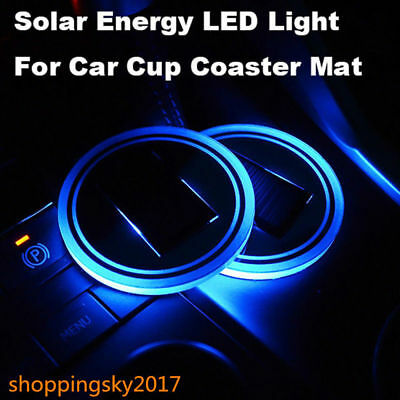 Solar Cup Pad Car accessories LED Blue Light Cover Interior Decoration PO1 HOT
