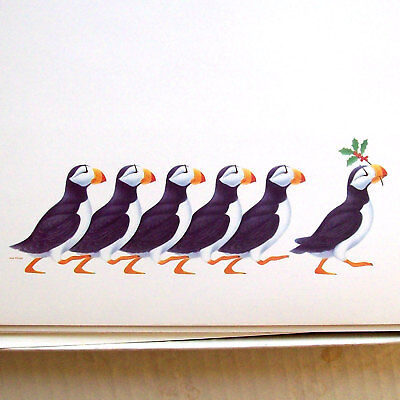 NWF Christmas Cards: Puffins on Parade (1985); 18 cards and 17 envelopes