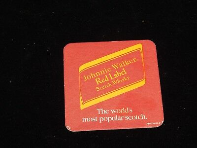 Vintage Beer Coaster, JOHNNIE WALKER RED LABEL SCOTCH WHISKEY,Import Scotland,UK