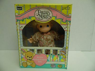 "Vintage 1992 RoseArt My First Precious Moments 6"" Vinyl Blonde Baby Doll-NEW"