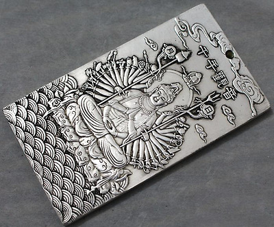 collectibles Old Chinese kuan-yin tibet Silver Bullion thanka amulet