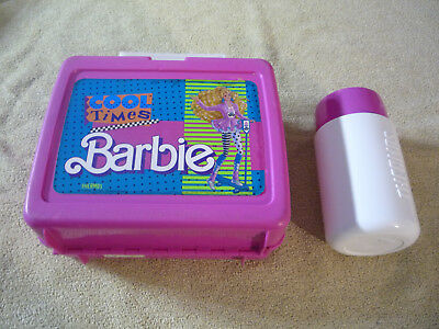 Barbie Cool Times 1989 Plastic Lunchbox - Lunch Box  With Thermos
