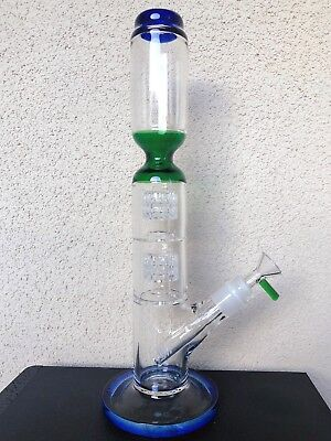 "Hookah Water Pipe Glass Bong 14"" Dual Percolator Diffuser Sets Easy Grip"