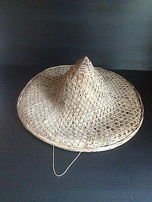 Old vintage bamboo rice paddy farmer hat