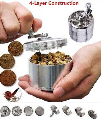 New Herb Grinder Spice Tobacco/Weed Smoke Zinc Alloy Crusher Leaf Design 4-Piece