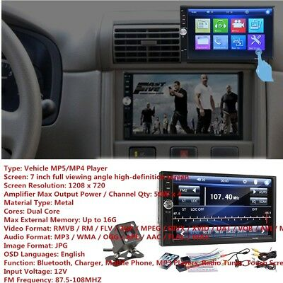1x 7 inch 2DIN Car MP5 Player Bluetooth Touch Screen Stereo Radio HD&Rear Camera