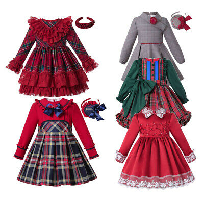 Girls Christmas Tartan Clothing Blouse+Plaid Skirt Party Pageant Outfits 3-12 Y