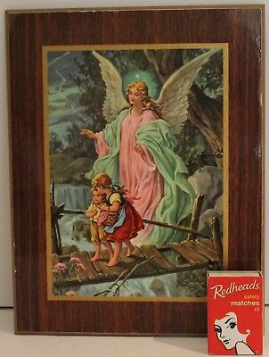 Guardian Angel Children Picture Board Print Lady Girl Boy Religious Vintage 1950