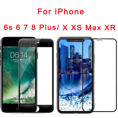 For iPhone X XS Max XR 7 8 Plus 3D Full Coverage Tempered Glass Screen Protector