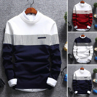 Casual Men's Round Neck Fashion Knit Sweater Pullover Knitwear Jumper Coat Tops