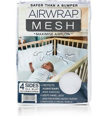 Airwrap Mesh 4 Sides Protect against Bumps Breathable Cot Crib Adjustable Safety