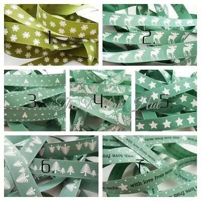 A Selection of 15mm Green Christmas Ribbons 8 Designs 1Mtr Lengths by Berisfords