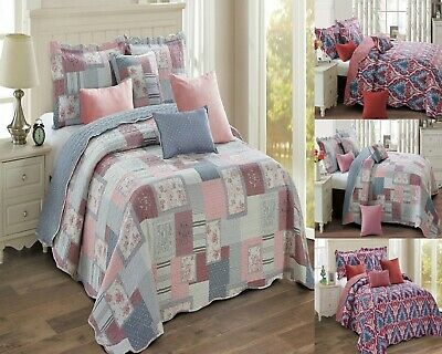 Quilted Bedspread 3 Pcs Bed Throw Coverlet Filled Cotton Vintage 2 Pillow Shams