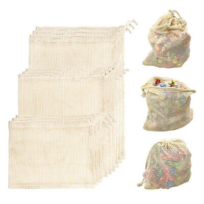 Cotton Mesh Grocery Fruit Storage Shopping String Bags Produce Bags Reusable