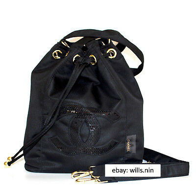 6f270142455d7d Authentic Chanel Precision Beaute VIP Gift Nylon Drawstring Bucket Cosmetic  Bag