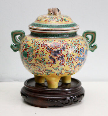 Antique Chinese Imperial Yellow Porcelain Tripod Lidded Pot, Deer Handle & Seal
