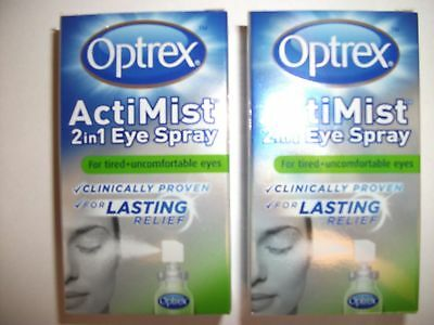 2 x Optrex ActiMist 2in1 Eye Spray For Tired + Uncomfortable Eyes 10ml New