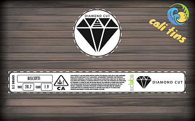 10x Diamond Cut Exotics Cali Tin 100ml Labels Stickers