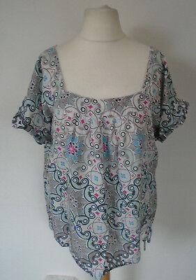 c7ba1915947 Next Cotton Top Plus Size 22/24 Grey Floral Pattern Tunic Loose Holiday  Summer